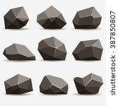 Rock Stone Isometric View Set...