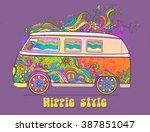 hippie style. ornamental... | Shutterstock .eps vector #387851047