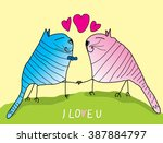 two cats have a date on the...   Shutterstock .eps vector #387884797