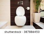 hanging toilet in bathroom.... | Shutterstock . vector #387886453