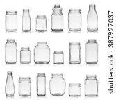 set of empty jars isolated on... | Shutterstock . vector #387927037