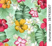 watercolor seamless tropical... | Shutterstock . vector #387930307