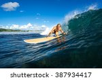 surfer with long white hair... | Shutterstock . vector #387934417