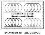 barbed wire   set of symbol... | Shutterstock .eps vector #387938923