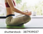 woman yoga practice pose... | Shutterstock . vector #387939037