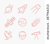 space icons. linear style | Shutterstock .eps vector #387966313