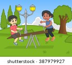 children play teeter at the... | Shutterstock .eps vector #387979927