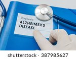 Small photo of Blue folder with Alzheimer's disease diagnosis