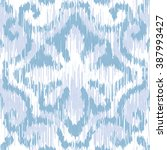indigo ikat faux tribal fabric... | Shutterstock .eps vector #387993427
