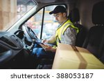 delivery driver using tablet in ... | Shutterstock . vector #388053187