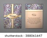 vintage cards with floral... | Shutterstock .eps vector #388061647