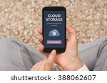 hands holding smart phone with... | Shutterstock . vector #388062607