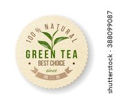 green tea round paper label  | Shutterstock .eps vector #388099087