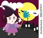halloween witch with broom... | Shutterstock .eps vector #388109947