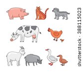 farm animals  cow  pig  goat ... | Shutterstock .eps vector #388115023