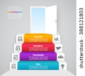 vector 3d up stairs infographic.... | Shutterstock .eps vector #388121803