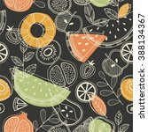 fruit seamless pattern.... | Shutterstock .eps vector #388134367