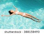 beautiful woman in white bikini ... | Shutterstock . vector #388158493