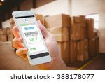hand holding smartphone against ... | Shutterstock . vector #388178077
