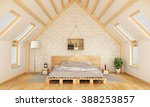 bedroom in the attic with... | Shutterstock . vector #388253857