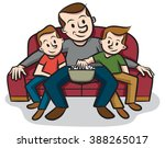 sitting on the couch with dad | Shutterstock .eps vector #388265017
