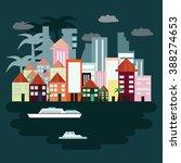 island illustration. night sky.  | Shutterstock .eps vector #388274653