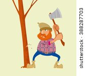 Lumberjack With An Ax Chopping...