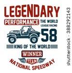 vector vintage sport racing car ... | Shutterstock .eps vector #388292143