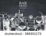 Vector design with hand drawn drinks illustration. Vintage beverages sketch background. Retro template isolated on chalkboard. | Shutterstock vector #388301173