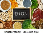 collection iron rich foods as... | Shutterstock . vector #388305553