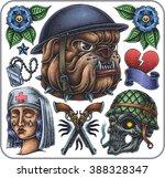 hand drawn set of old school... | Shutterstock .eps vector #388328347