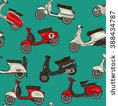 retro classic colorful scooters ... | Shutterstock .eps vector #388434787