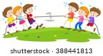kids playing tug of war at the... | Shutterstock .eps vector #388441813