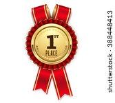 gold 1st place rosette  badge... | Shutterstock .eps vector #388448413