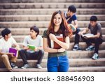 group of happy teen high school ... | Shutterstock . vector #388456903