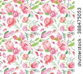 watercolor floral pattern  ... | Shutterstock . vector #388475053