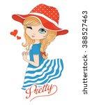 cute girl vector t shirt print... | Shutterstock .eps vector #388527463