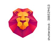 Colorful Origami Lion. Low Pol...