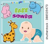 baby shower invitation card... | Shutterstock .eps vector #388535473