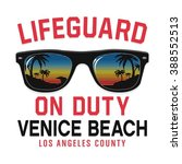 sunglasses lifeguard beach... | Shutterstock .eps vector #388552513