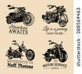 custom chopper and motorcycle... | Shutterstock .eps vector #388569463