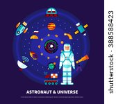 astronaut and universe set with ... | Shutterstock .eps vector #388588423
