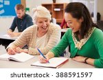 teacher and student sit... | Shutterstock . vector #388591597