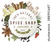 spice shop paper emblem with... | Shutterstock .eps vector #388591687