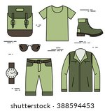 set of traveler clothing in... | Shutterstock .eps vector #388594453