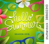 hello summer  seasonal template ... | Shutterstock .eps vector #388602343