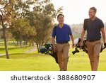 two male golfers walking along... | Shutterstock . vector #388680907