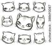 cats set  manual drawing | Shutterstock .eps vector #388693087