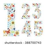 Cute Floral Vintage Numbers Se...