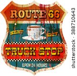 vintage route sixty six truck...   Shutterstock .eps vector #388710643